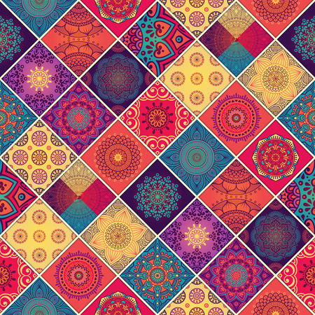 mandala flower: Ethnic floral seamless pattern. Abstract ornamental pattern Illustration