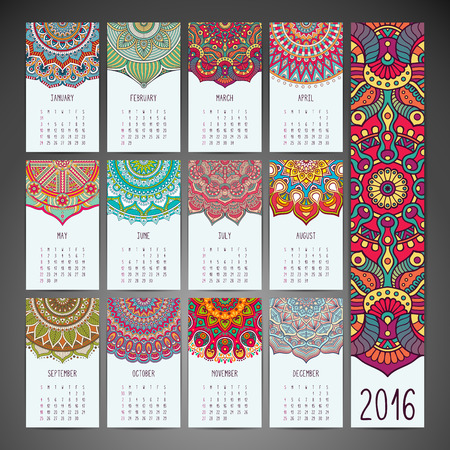decorative: Calendar 2016. Vintage decorative elements. Ornamental floral business cards Illustration