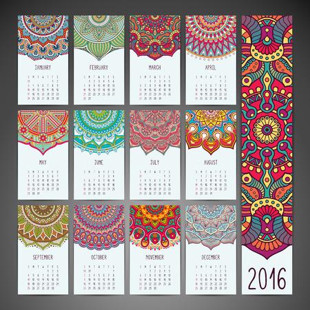 marcos decorativos: Calendario 2016. Los elementos decorativos de la vendimia. Ornamentales tarjetas de visita florales Vectores
