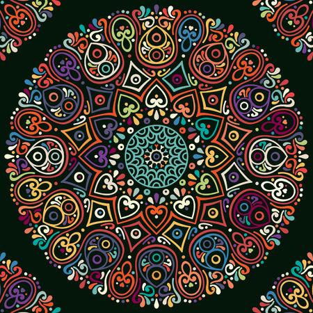 Ornement belle carte avec mandala. Élément de cercle géométrique faite dans le vecteur