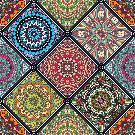vintage texture: Ethnic floral seamless pattern. Abstract ornamental pattern Illustration