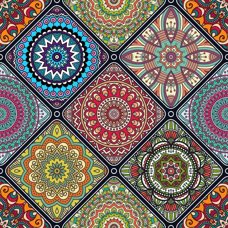 Etnische bloemen naadloos patroon. Abstract sierpatroon Stockfoto - 52205971
