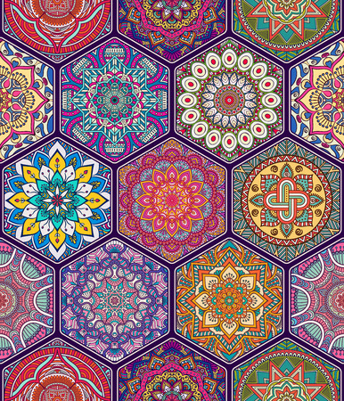circles pattern: Ethnic floral seamless pattern. Abstract ornamental pattern Illustration