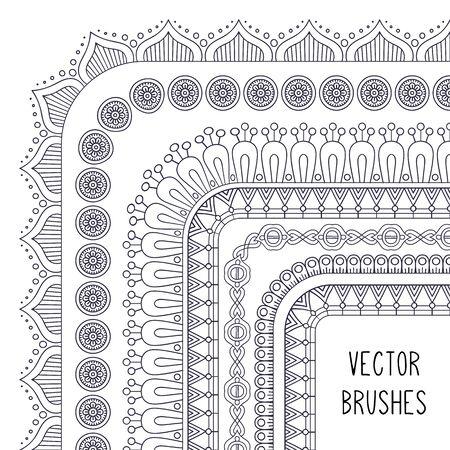 Ethnic brush collection. Vintage decorative elements. Oriental pattern, vector illustration Vector Illustration