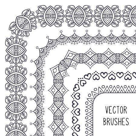 Ethnic brush collection. Vintage decorative elements. Oriental pattern, vector illustration