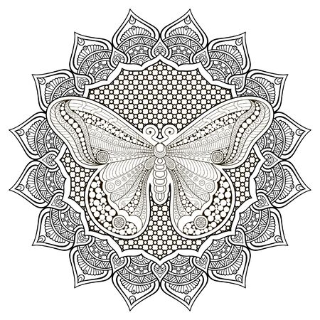 butterfly flower: Ornament beautiful  card with butterfly. Geometric circle element made in vector
