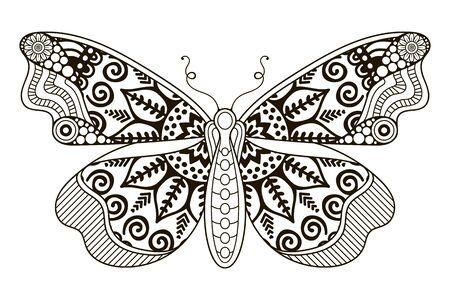 Ornamento bella carta con farfalla. elemento cerchio geometrico fatto nel vettore