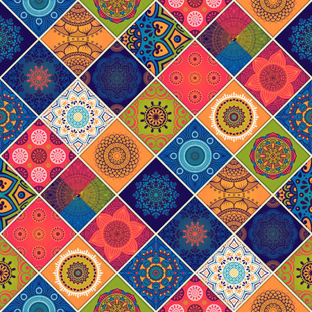 motif: Ethnic floral seamless pattern. Abstract ornamental pattern Illustration