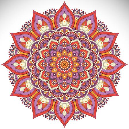 Ornamento tarjeta hermosa con mandala. círculo elemento geométrico hecho en vector Ilustración de vector