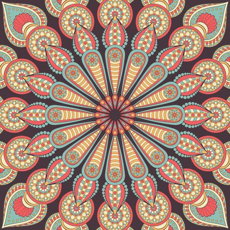 Ornamento bella carta con mandala. Elemento del cerchio geometrico realizzato in vettoriale