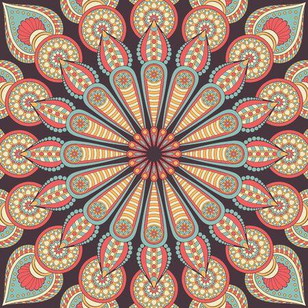 Ornamento tarjeta hermosa con mandala. círculo elemento geométrico hecho en vector