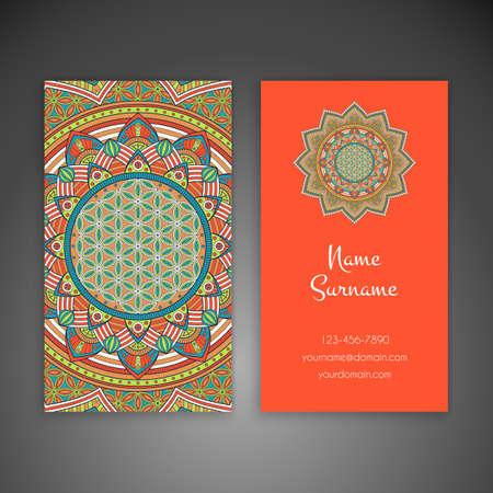 model motive: Business card. Vintage decorative elements. Hand drawn background Illustration