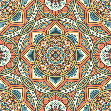 Ethnic floral seamless pattern. Abstract ornamental pattern Illusztráció