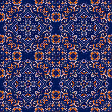 retro floral: Ethnic floral seamless pattern. Abstract ornamental pattern Illustration