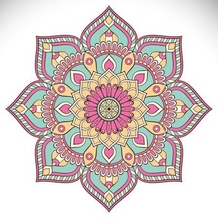 marcos redondos: Ornamento tarjeta hermosa con mandala. círculo elemento geométrico hecho en vector