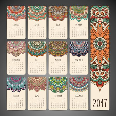 motif floral: Ethnic floral calendar. Abstract ornamental pattern