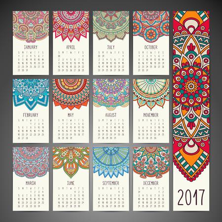 model motive: Ethnic floral calendar. Abstract ornamental pattern