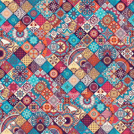 Ethnic floral seamless pattern. Abstract ornamental pattern Ilustração