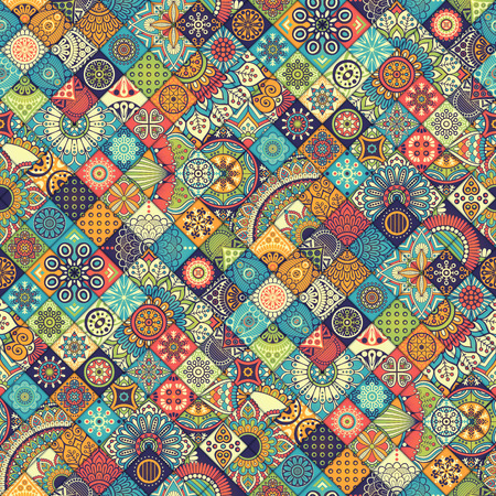 motif pattern: Ethnic floral seamless pattern. Abstract ornamental pattern Illustration