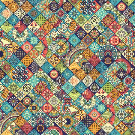 disegni cachemire: Ethnic motivo floreale senza soluzione di continuità. Abstract pattern ornamentale Vettoriali