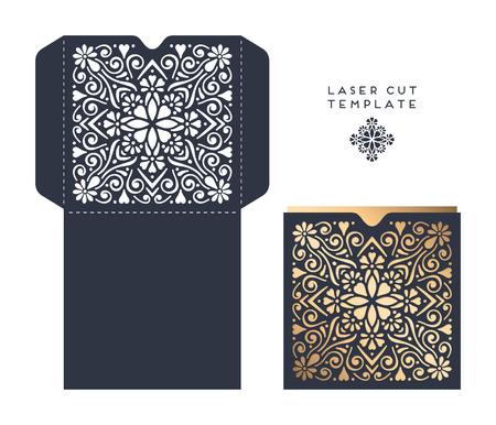 Laser enveloppe de gabarit de découpe, carte d'invitation de mariage Banque d'images - 62297254