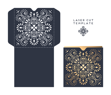 paper cutting: laser cut template envelope, wedding card invitation