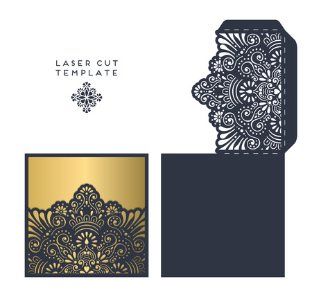 cut paper: laser cut template envelope, wedding card invitation