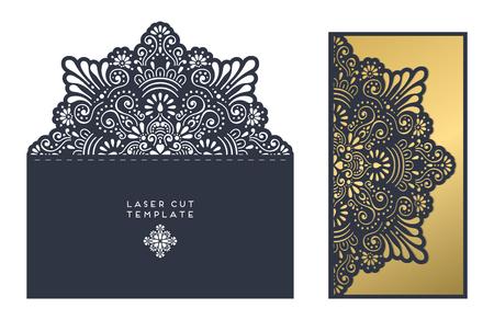 レーザー カット テンプレート封筒、ウェディング カードの招待状