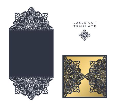 láser plantilla de corte sobre, invitación de la tarjeta de boda Ilustración de vector