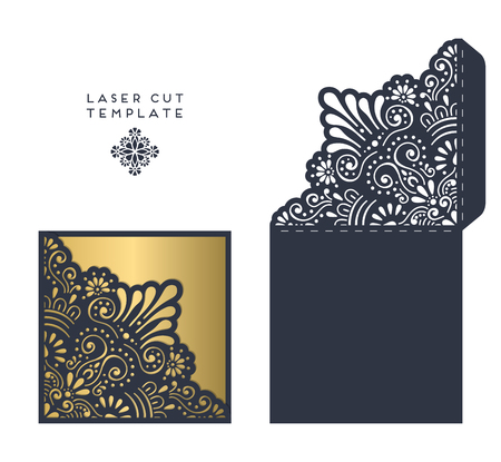 laser cutting: laser cut template envelope, wedding card invitation
