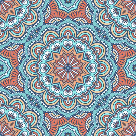 Ethnic floral seamless pattern. Abstract ornamental pattern 矢量图像