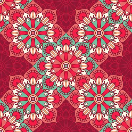 エスニック花柄シームレス パターン。抽象的な装飾的なパターン