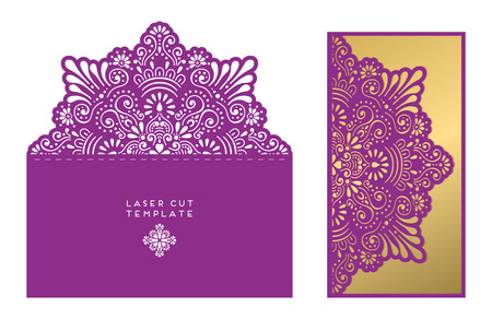 Wedding Card Laser Cut Template. Vintage Decorative Elements. Stock ...