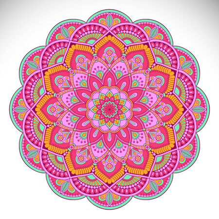 Ornament card with mandala. Geometric circle element Illustration