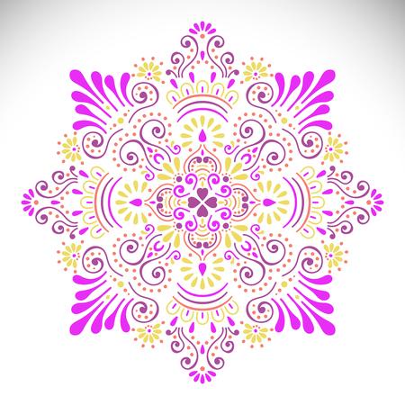 Ornament card with mandala. Geometric circle element Illustration
