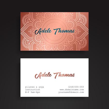 meditation man: Business card. Vintage decorative elements.