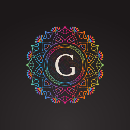 Vector Indian Mandala Monogram Illustration