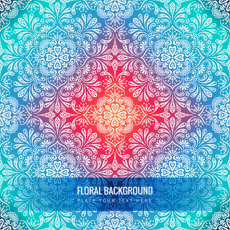 Ethnic floral seamless pattern with mandalas Illustration