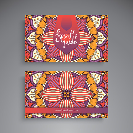 oriental vector: Business Card. Vintage decorative elements. Ornamental floral business cards, oriental pattern, vector illustration