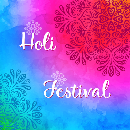Holi holiday design with colorful watercolor splash