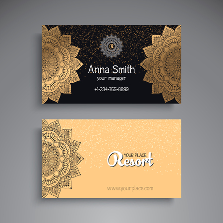 Business card vintage decorative elements ornamental floral business card vintage decorative elements ornamental floral business cards or invitation with mandala vector reheart Choice Image