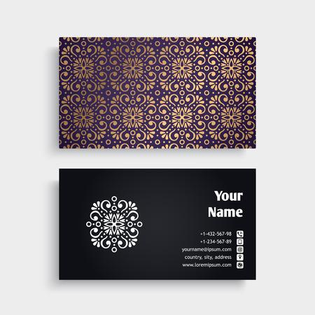 Visitenkarte. Vintage dekorative Elemente. Dekorative Blumen-Visitenkarten oder Einladung mit Mandala Standard-Bild - 80278356