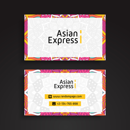 web site design template: Business Card. Vintage decorative elements. Ornamental floral business cards or invitation with mandala