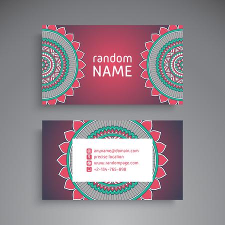 business card template: Business Card. Vintage decorative elements. Ornamental floral business cards, oriental pattern, vector illustration