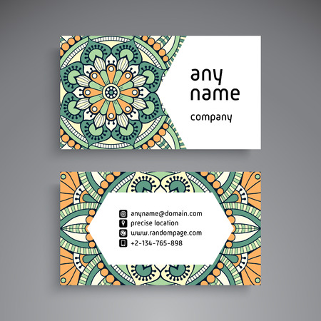 phone: Business Card. Vintage decorative elements. Ornamental floral business cards, oriental pattern, vector illustration