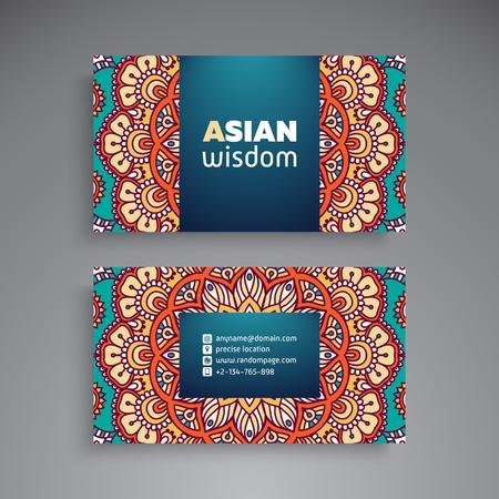 business card template: Business Card oriental pattern decorative elements.