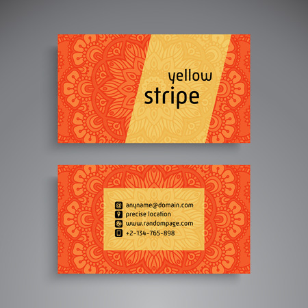 phone: Business Card. Vintage decorative elements. Ornamental floral business cards or invitation with mandala
