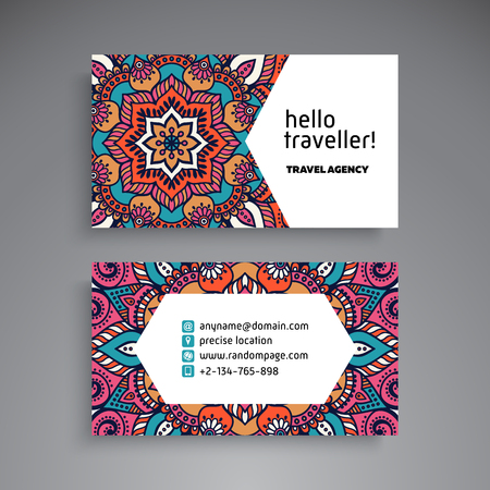 business card template: Business Card. Vintage decorative elements. Ornamental floral business cards or invitation with mandala