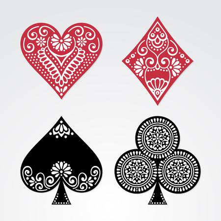Pokerkarten voller Satz vier Farben klassisches Design