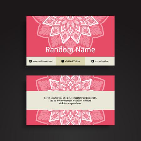 Business Card. Vintage decorative elements. Ornamental floral business cards, oriental pattern, vector illustration